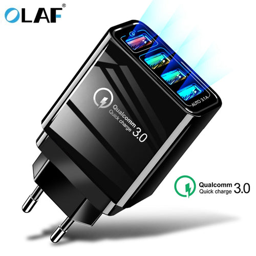 48W Quick Charger 3.0 USB Charger for Samsung A50 A30 iPhone 7 8 Huawei P20 Tablet QC 3.0 Fast Wall Charger US EU UK Plug Adapte