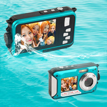 Load image into Gallery viewer, 2.7inch TFT Digital Camera Waterproof 24MP MAX 1080P Double Screen 16x Digital Zoom Camcorder HD268 Underwater Camera