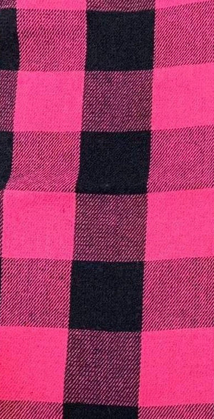 Womens Pink Check 100% Wool Flannel