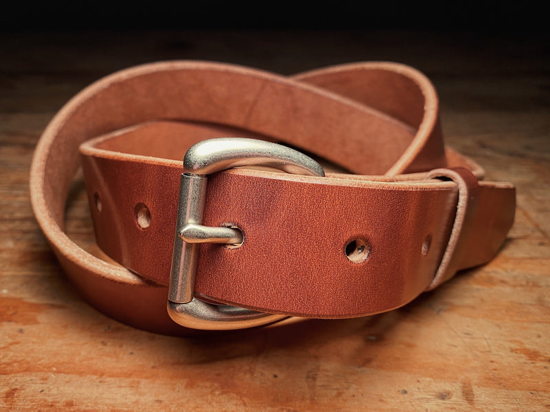 Harness leather Ashfield Belt with Matte Nickel roller buckle