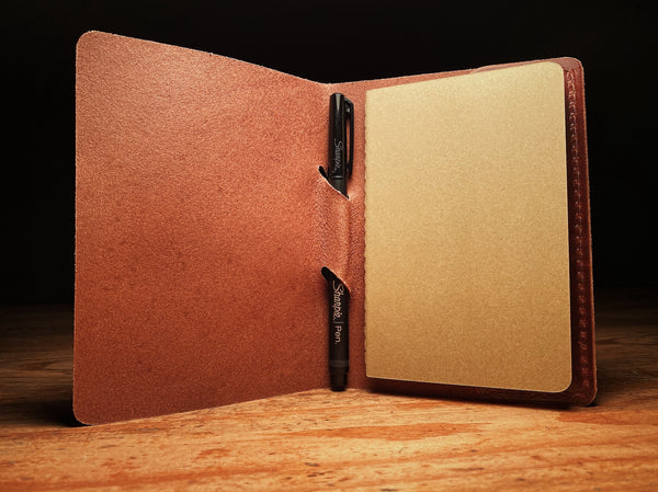 everyday carry leather journal sleeve with pen slot