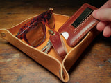 full-grain natural leather valet tray, full of accessories