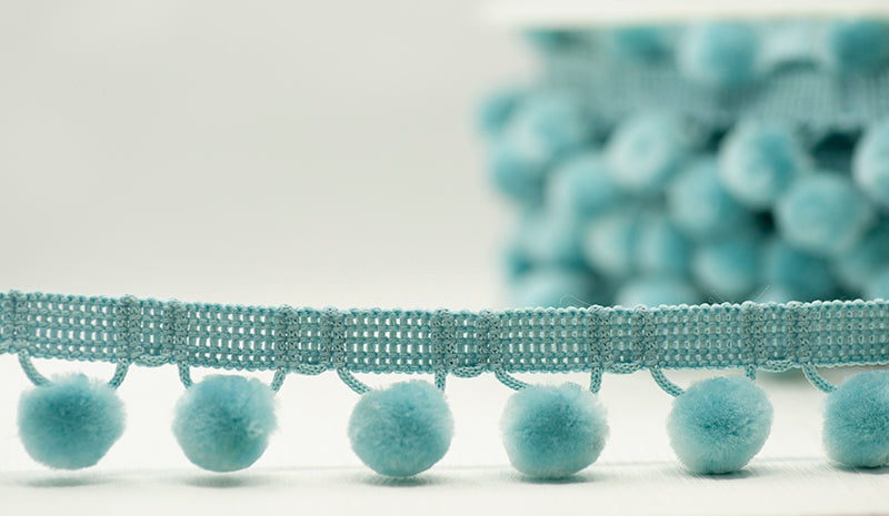 28mm Pom Pom Trim - Pale Blue