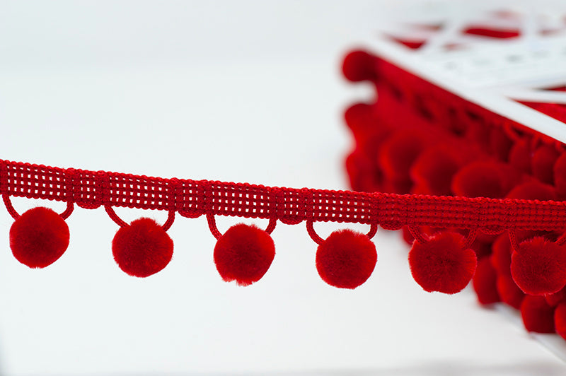 28mm Pom Pom Trim - Red