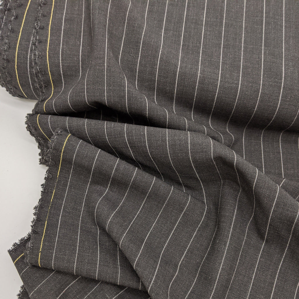Charcoal Pin Stripe Wool Blend Suiting