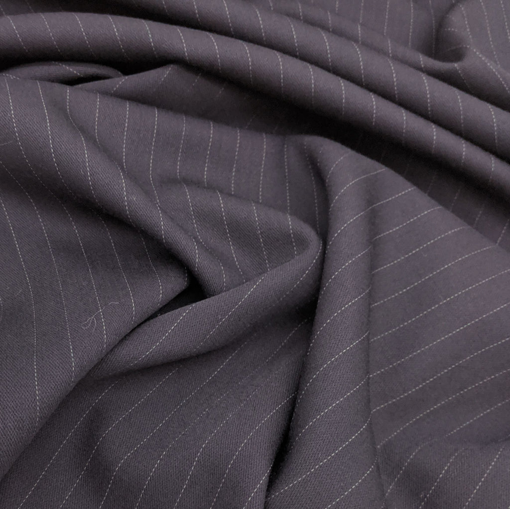 Navy Pin Stripe 100% Wool Suiting