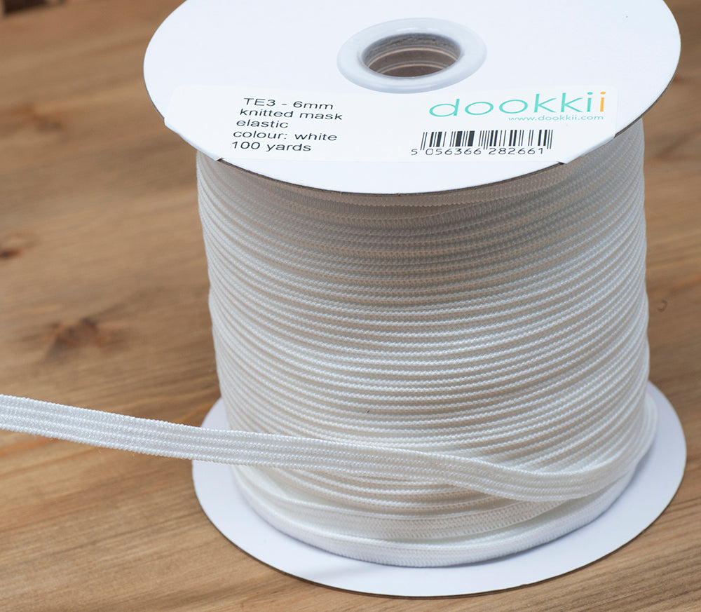 Knitted Flat Mask Elastic - 6mm - White