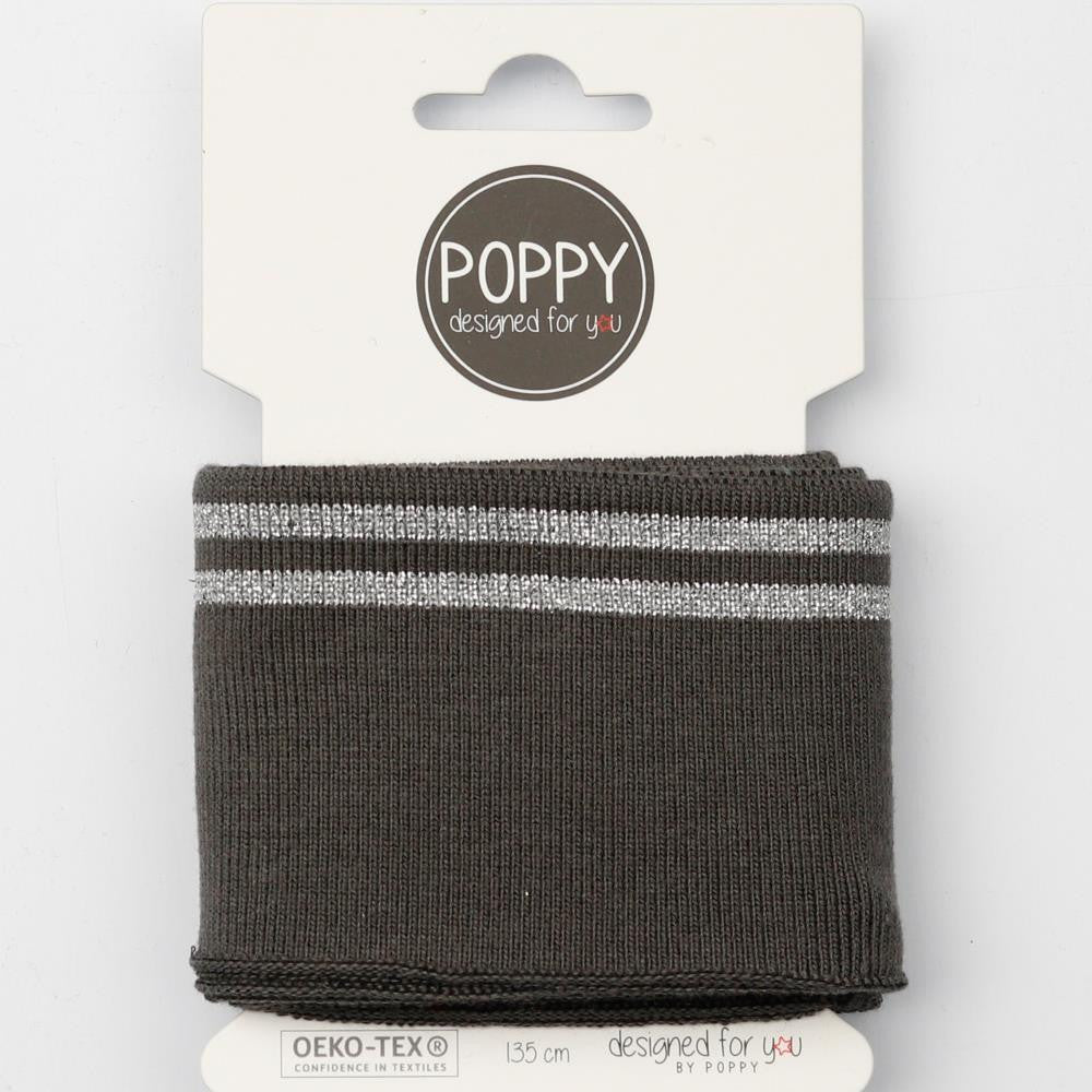 Lurex Stripe Cuffing - Dark Grey