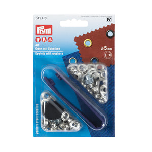 Prym Eyelets and Washers - Silver - 5mm