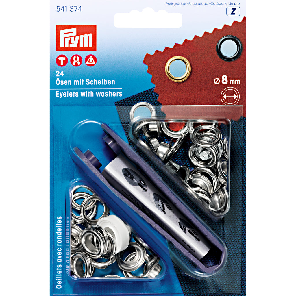 Prym Eyelets and Washers - Silver - 8mm