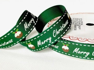 Bertie's Bows Merry Christmas 16mm Ribbon - 3 Metre Reel