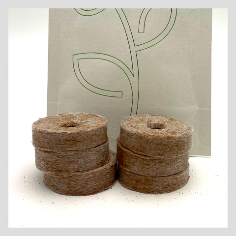 UrbanSproutz Coco Wheels. Great medium to grow Microgreens in any container. Clean, and made of sustainably grown coconut coir.  Also known as coconut coir pellets.