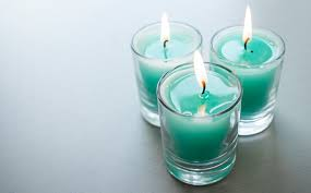 Teal Coloured WaxScented Candle