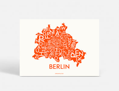 Plakat 70x50 CM - BERLIN - NEON ORANGE