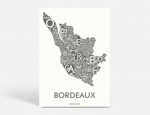 Plakat BORDEAUX WINE - DARK GREY - 40x55 CM