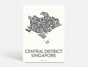 CENTRAL DISTRICT SINGAPORE - DARK GREY - 40x55 CM