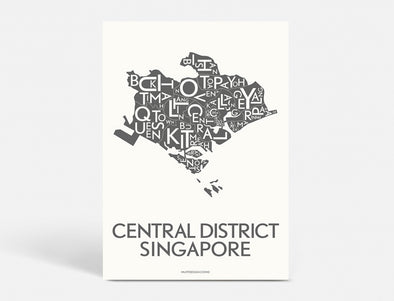Plakat  40x55 CM - CENTRAL DISTRICT SINGAPORE - KOKS