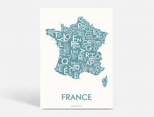 FRANCE - STEEL BLUE - 40x55 CM