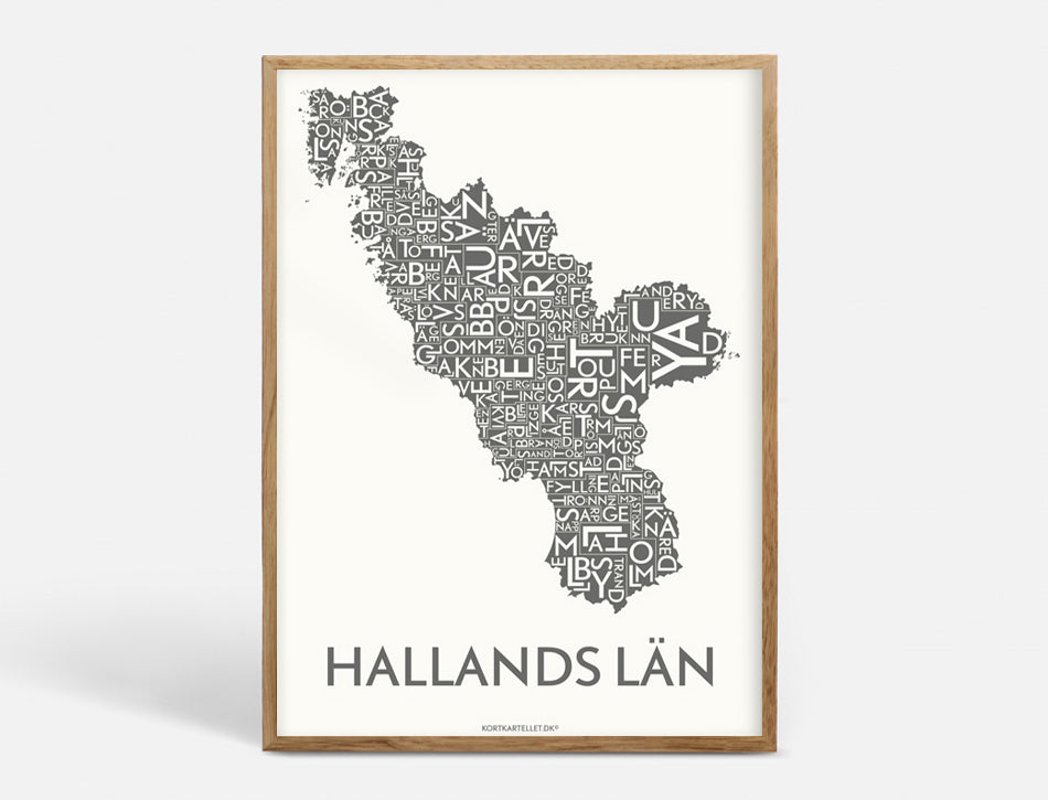 Plakat HALLANDS LÄN - DARK GREY - 50x70 CM
