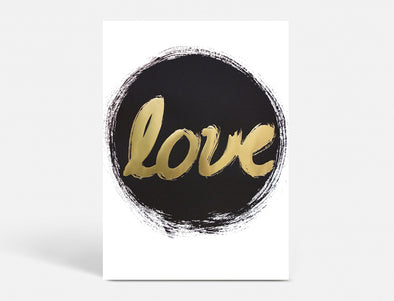 Plakat 40X55 CM - LOVE - BLACK CIRCLE