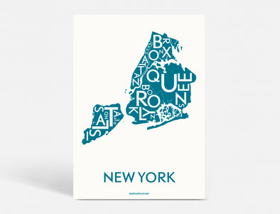 Plakat 50x70 CM - NEW YORK (CITY) - PETROL BLÅ