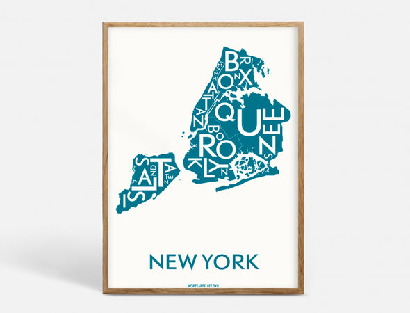 Plakat 40x55 CM - NEW YORK (CITY) - PETROL BLÅ