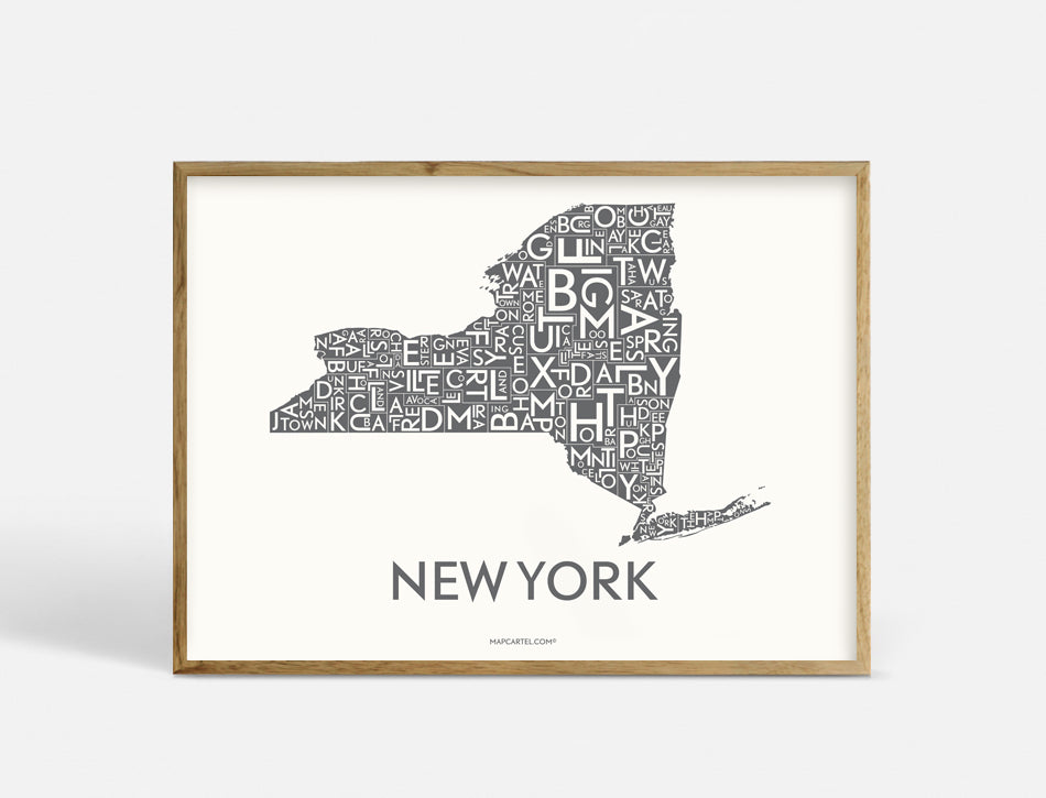 NEW YORK (STATE) - DARK GREY - 40x55 CM