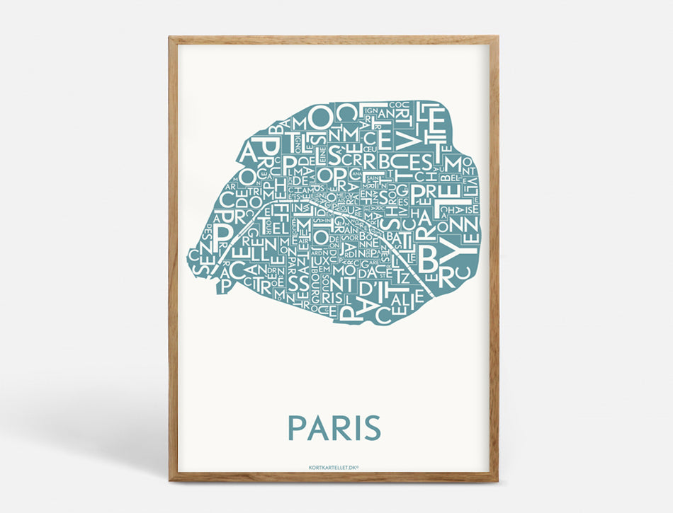 Plakat PARIS DISTRICTS - STEEL BLUE - 40x55 CM
