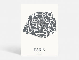 PARIS ARRONDISSEMENTS - DARK GREY - 50x70 CM