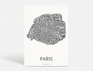 Plakat PARIS DISTRICTS - DARK GREY - 50x70 CM