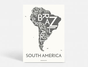 SOUTH AMERICA - DARK GREY - 40x55 CM