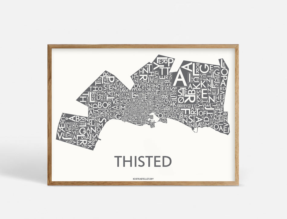 Plakat THISTED - DARK GREY - 70x50 CM