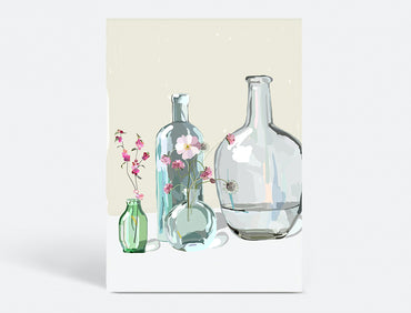 Plakat  70x100 CM - GLASS BOTTLES - BEIGE
