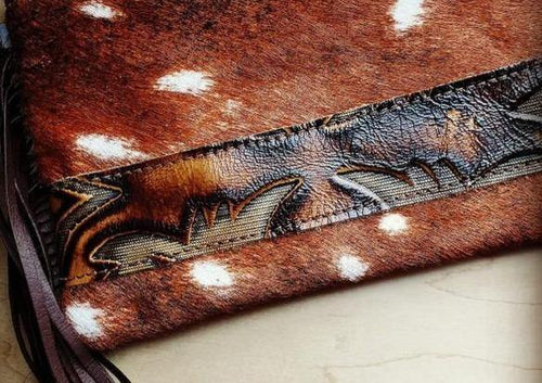 Axis Deer Hide Printed Leather Clutch Handbag - romp Collection