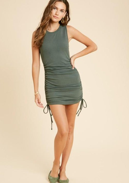 Raquel Ribbed Drawstring Dress-Olive - romp Collection
