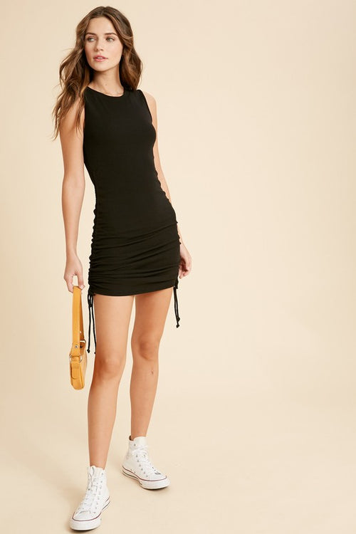 Raquel Ribbed Drawstring Dress-Black - romp Collection