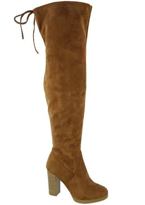 Angelina Over The Knee-Cognac Boot - romp Collection