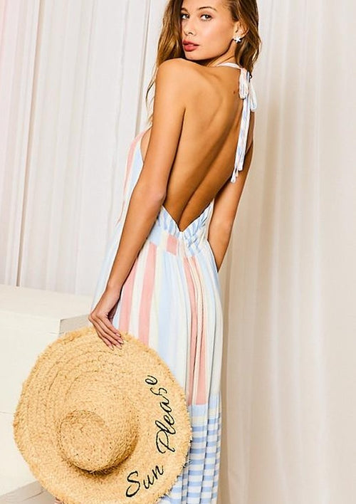 Sail Away Striped Maxi Dress - romp Collection
