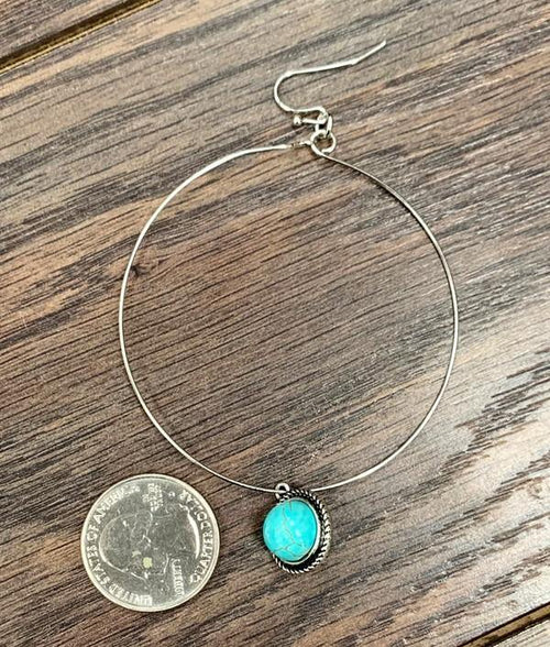 Natural Round Turquoise Hoop Earrings - romp Collection