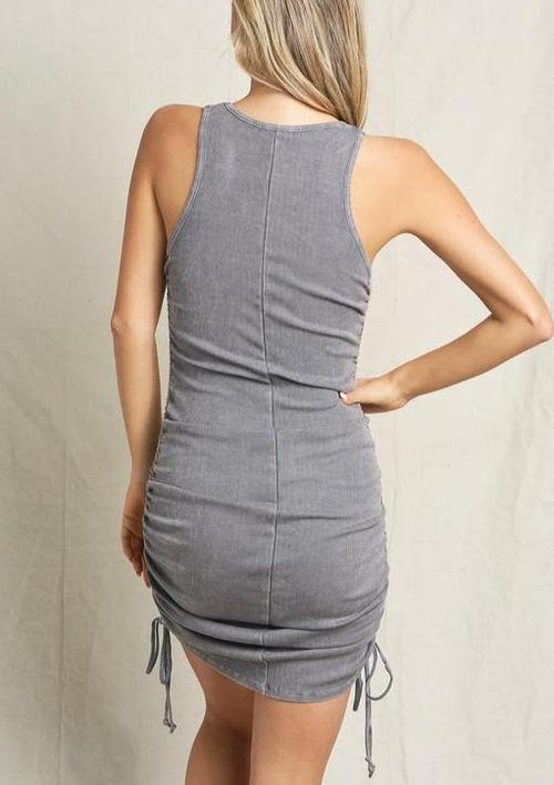 Aziza Ribbed Dress-Gunmetal - romp Collection