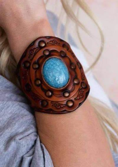 3BN Aegean Boho Leather Cuff Bracelet - Blue - romp Collection