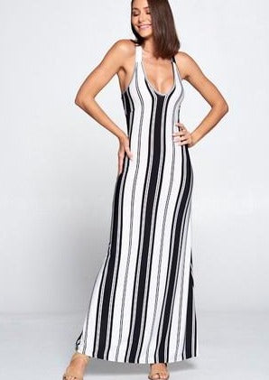 Black and White Stripe Maxi Dress - romp Collection