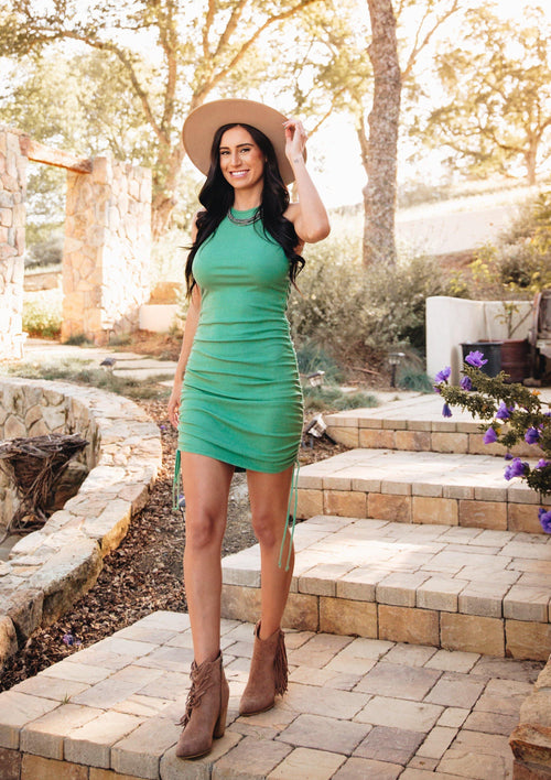 Aziza Ribbed Dress-Emerald - romp Collection