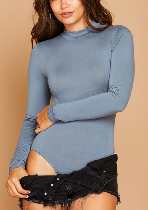 High Neck Long Sleeve Body Suit - Dusty Grey - romp Collection