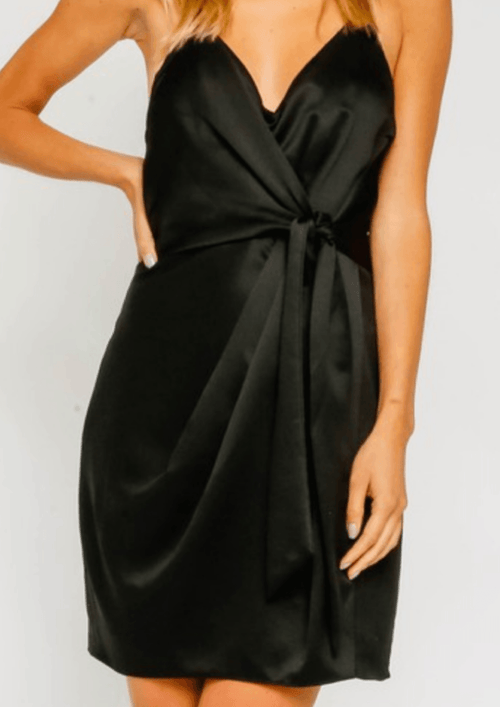 Tie Front Satin Mini Dress - romp Collection