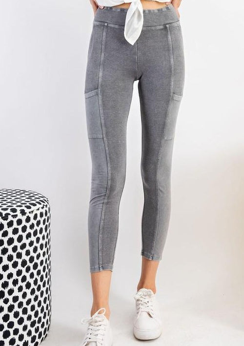 Mineral Washed Leggings-Ash - romp Collection