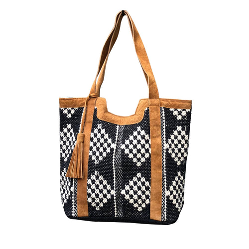 Leather Trimmed Diamond Tote - romp Collection