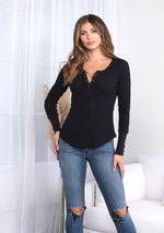 Dolly Henley Button Up - romp Collection