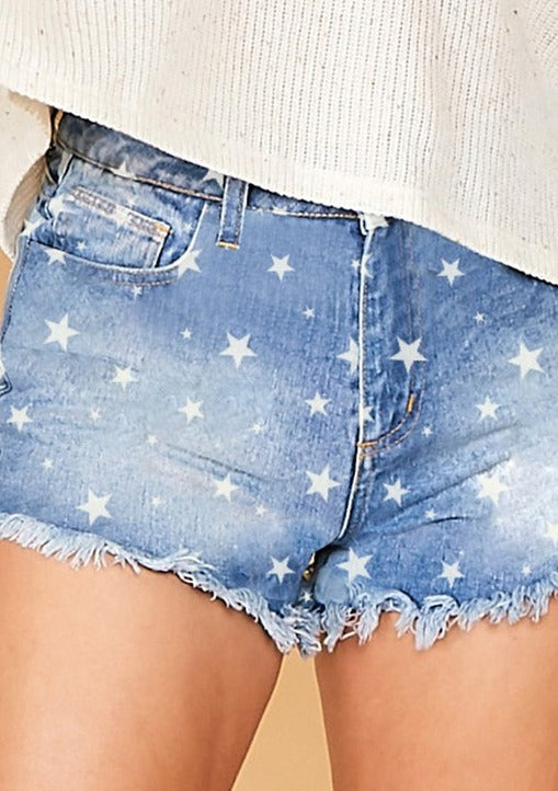 Distressed Star Shorts - romp Collection