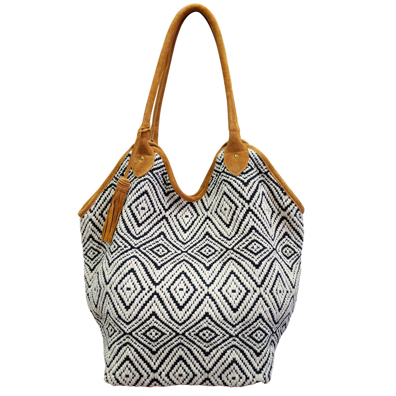 Black and White Diamond Bucket Tote Bag - romp Collection